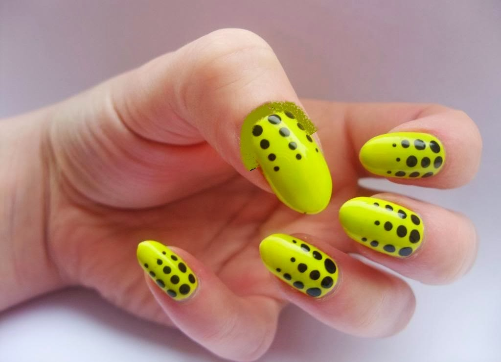 Neon Yellow And Black Polka Dots Nail Art