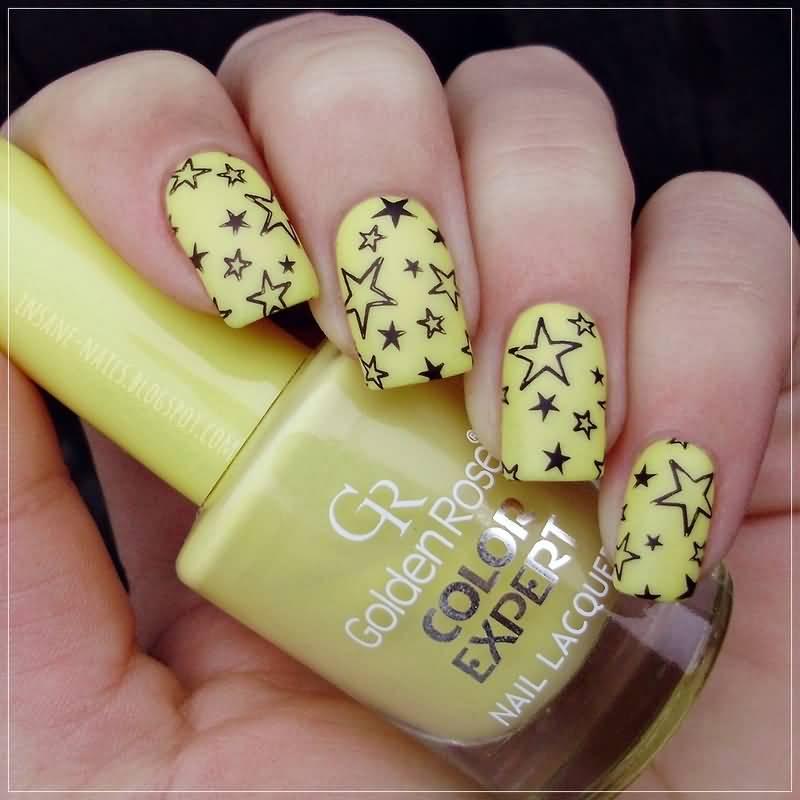 Neon Yellow And Black Stars Design Nail Art