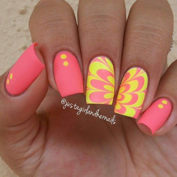 Nail Designs With Yellow And Pink: Neon pink and yellow nails my own ...
