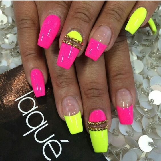 Nail Designs With Yellow And Pink: Most stylish yellow and pink nail ...