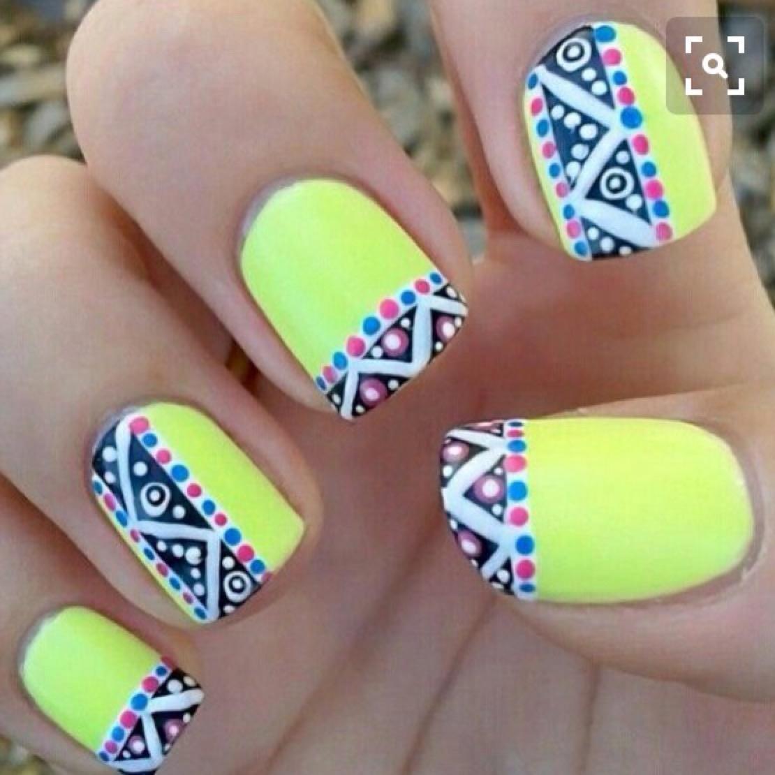 Neon Yellow And Tribal Print Nail Art Design
