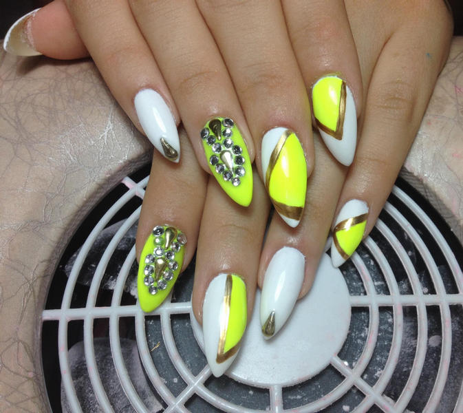 Neon Yellow And White Nails With Studs Design Idea - 35+ Yellow And White Nail Art Design Ideas