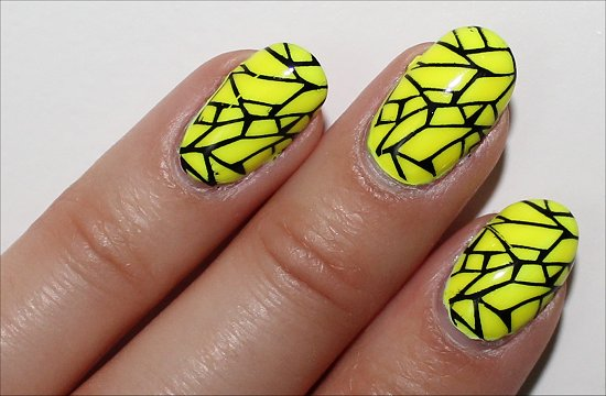 Neon Yellow Cracked Design Nail Art