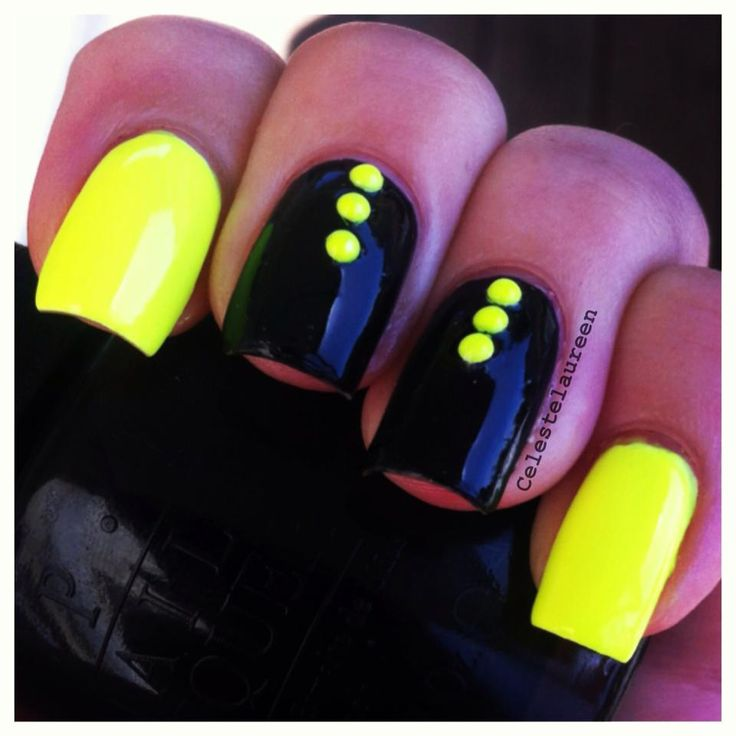 Neon Yellow Dots On Black Nails Design