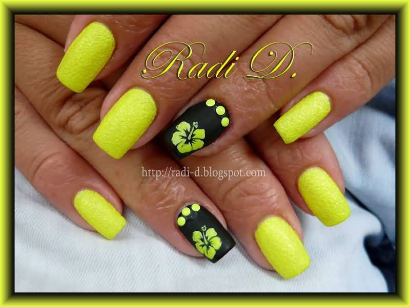 Neon Yellow Flower On Black Nail Art - 55 Unique Yellow Nail Art Design Ideas