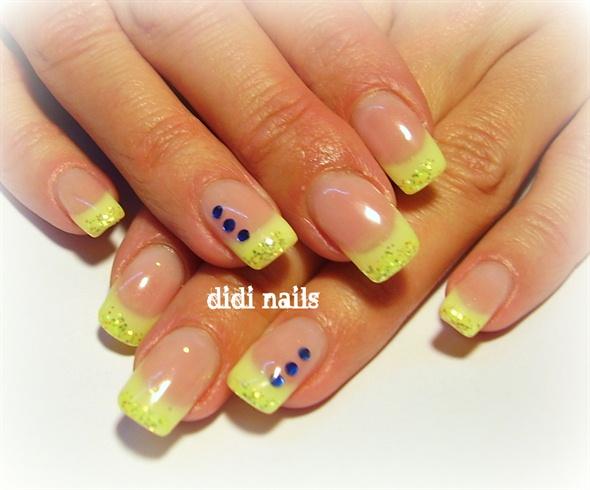 Neon Yellow Glitter Tip Nail Art with Blue Rhinestones Design