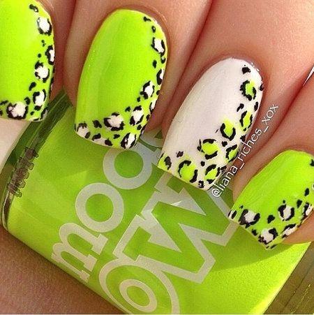 Neon Yellow Leopard Print Nail Art - 70 Trendy Neon Yellow Nail Art Design Ideas