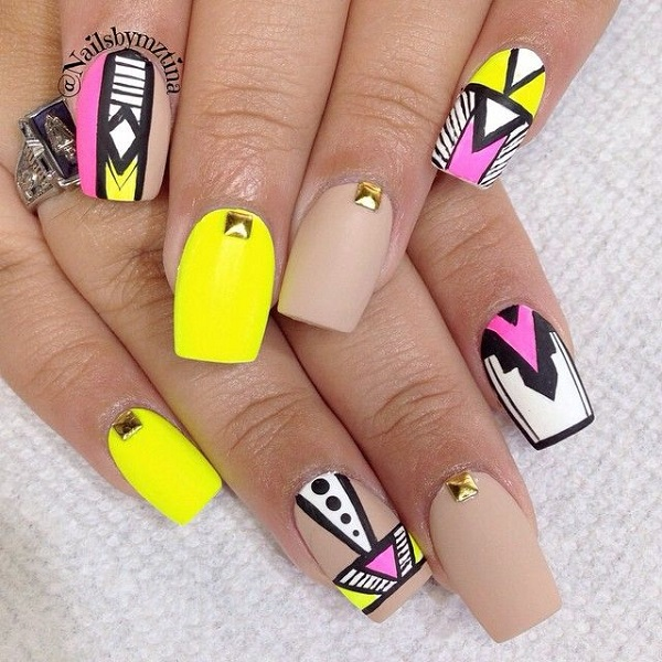 Neon Yellow Nail Art With Tribal Print Design Idea