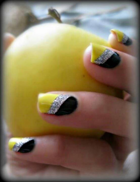 Neon Yellow Silver And Black Diagonal Stripes Design Nail Art