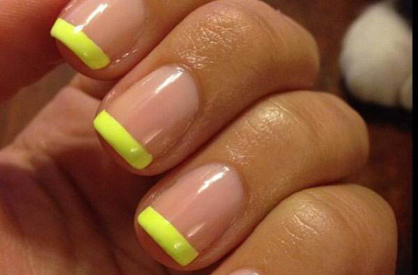 Neon Yellow Tip Nail Art