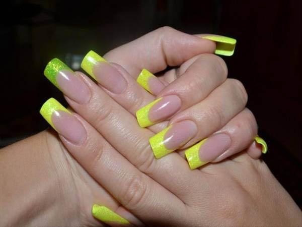 Neon Yellow Tip Nail Art
