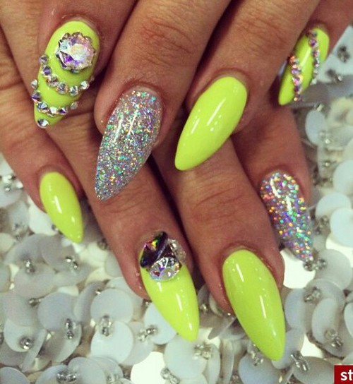 Neon Yellow With Glitter Gel And Rhinestones Design Nail Art - 70 Trendy Neon Yellow Nail Art Design Ideas
