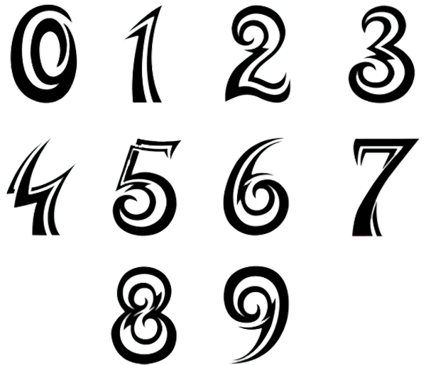 numbers font tattoo design