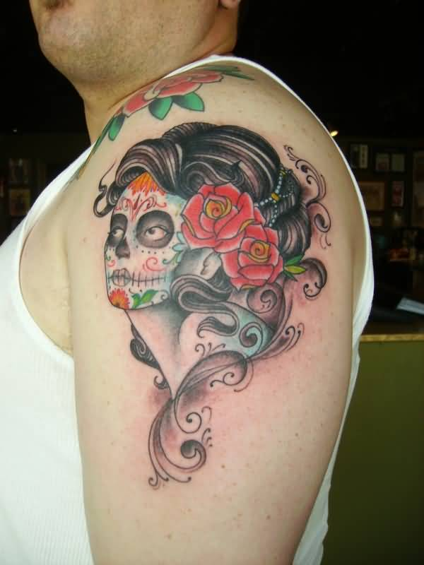 old school day of the dead pin up girl tattoo on left shoulder. Black Bedroom Furniture Sets. Home Design Ideas