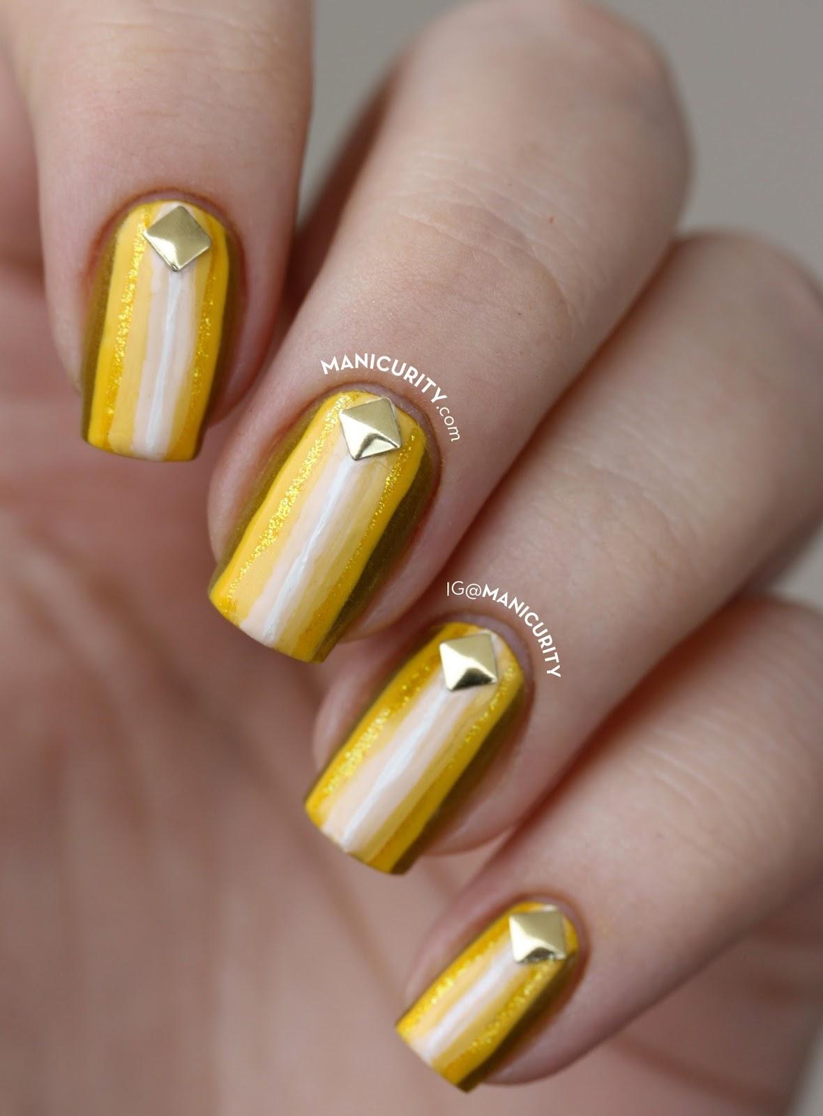 Ombre Yellow Stripes Nail Art