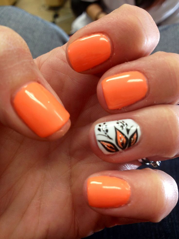 55 Orange Nail Art Ideas For Girls