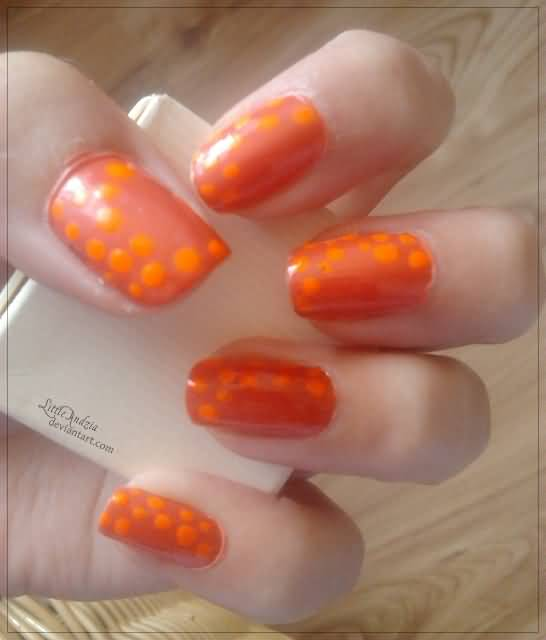 Orange Acrylic Polka Dots Design Nail Art