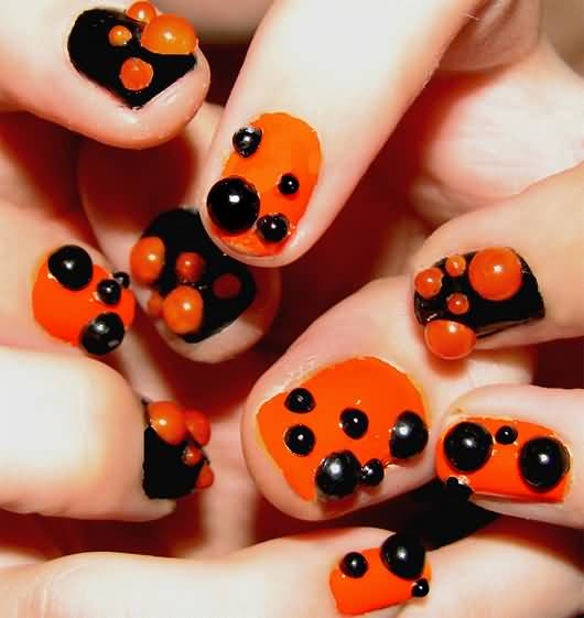 Orange And Black 3D Bubbles Design Nail Art