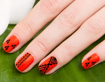 Orange And Black Aztec Nail Art