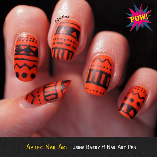 Orange And Black Aztec Print Nail Art Design