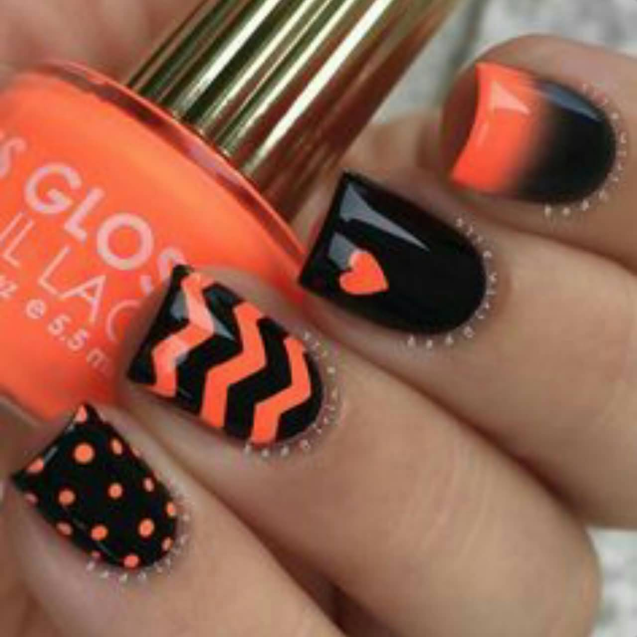 Nail Art Ideas: 60 Stylish Orange And Black Nail Art Design Ideas