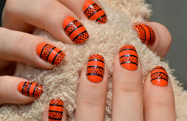 Orange And Black Dots And Striping Tape Nail Art Design