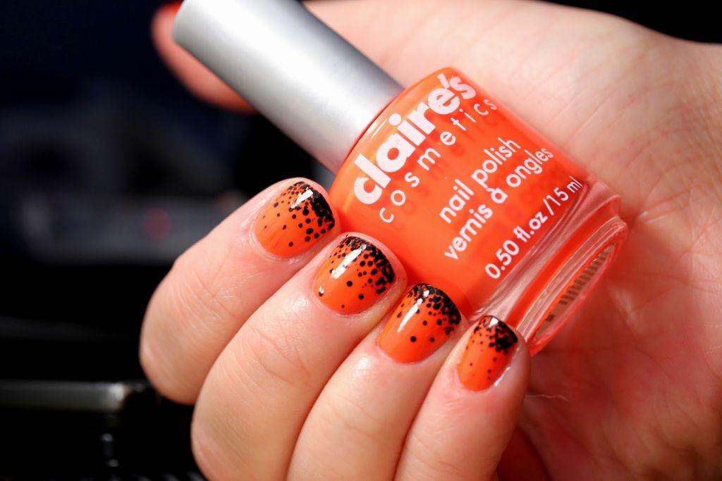 Orange And Black Dots Nail Art