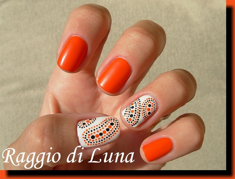 Orange And Black Dots On White Nails Design Idea - 53 Most Adorable Orange And White Nail Art Design Ideas