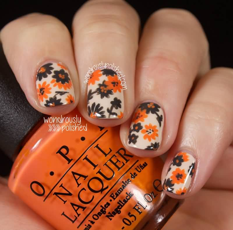 Orange And Black Floral Nail Art