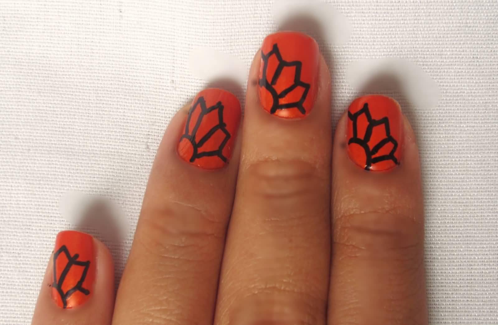 Orange And Black Flower Design Nail Art