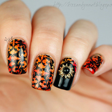 Orange And Black Flower Vine Design Nail Art
