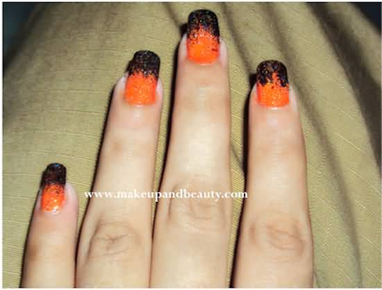 Orange And Black Freehand Nail Art Design