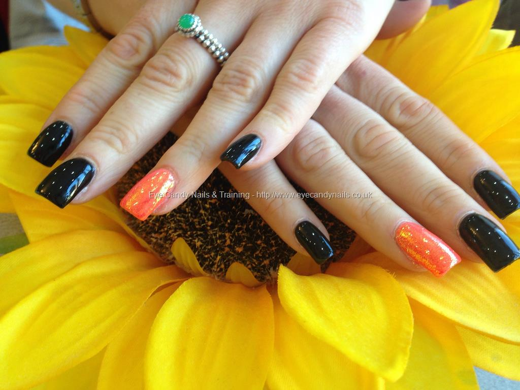 60 Stylish Orange And Black Nail Art Design Ideas