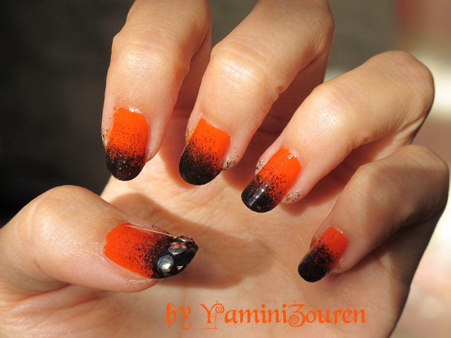 Orange And Black Gradient Nail Art With Studs Design - 60 Stylish Orange And Black Nail Art Design Ideas