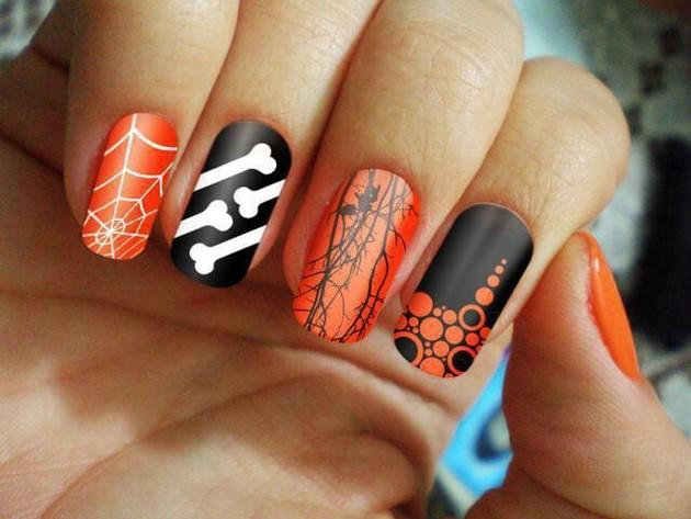 Orange And Black Halloween Nail Art