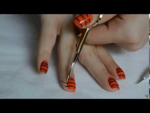 Orange And Black Nail Art Image