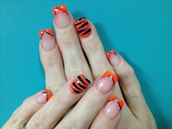 Orange And Black Nail Art - 60 Stylish Orange And Black Nail Art Design Ideas