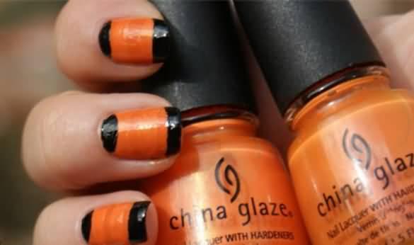 Orange And Black Nail Design
