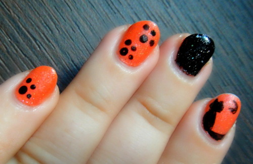 Orange And Black Paw Print Nail Art