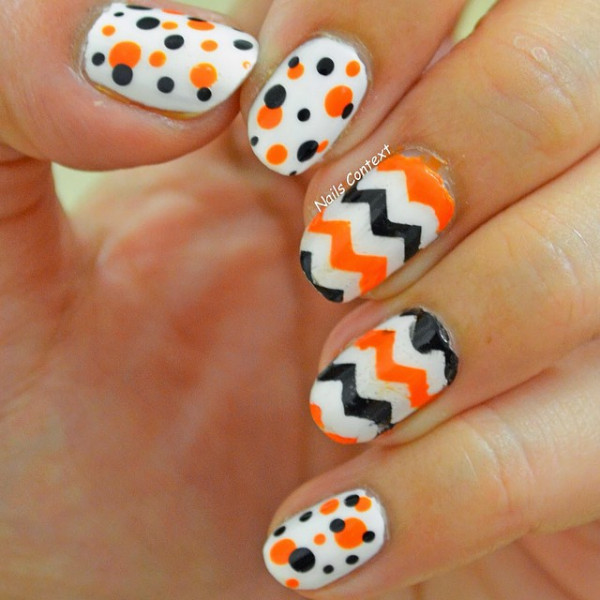 Orange And Black Polka Dots And Chevron Nail Art Design On White Nails