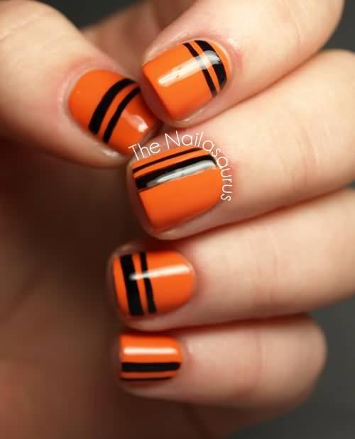 Orange And Black Stripes Design Nail Art