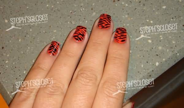 Orange And Black Tiger Striped Nail Art