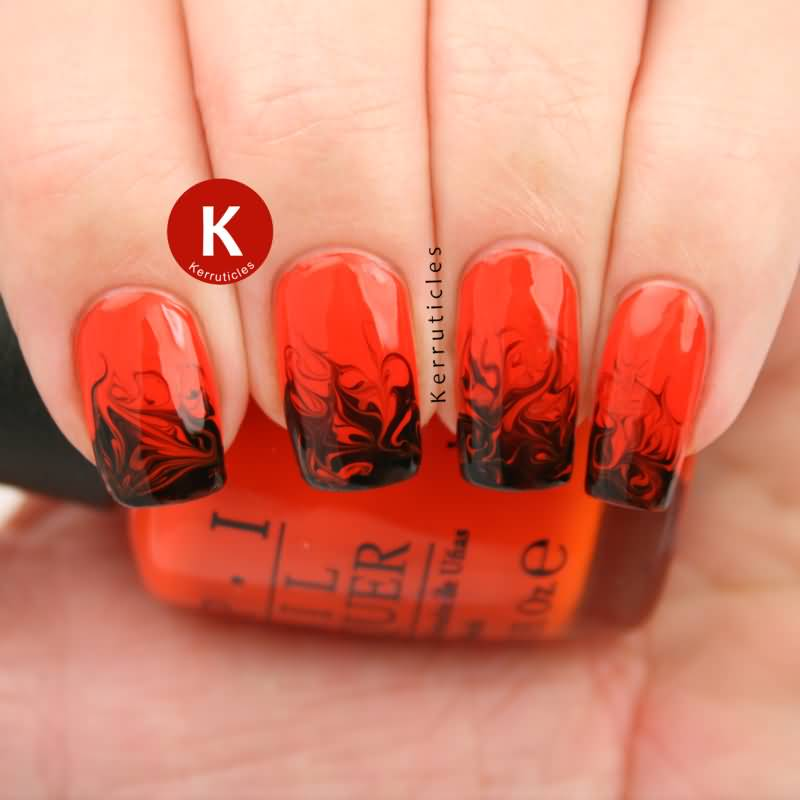 Orange And Black Water Marble Nail Art