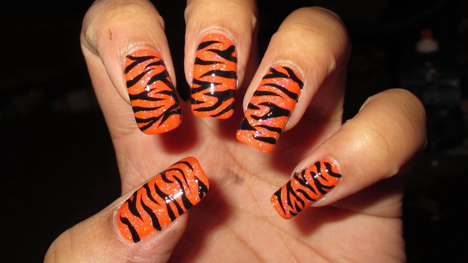 Nail Art Designs In Orange And Black Hession Hairdressing