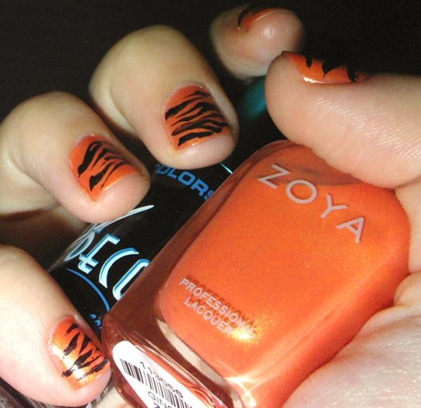 Orange And Black Zebra Print Nail Art