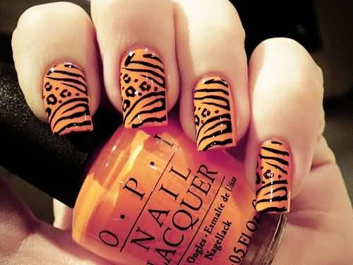 Orange And Black Zebra Print Nail Art