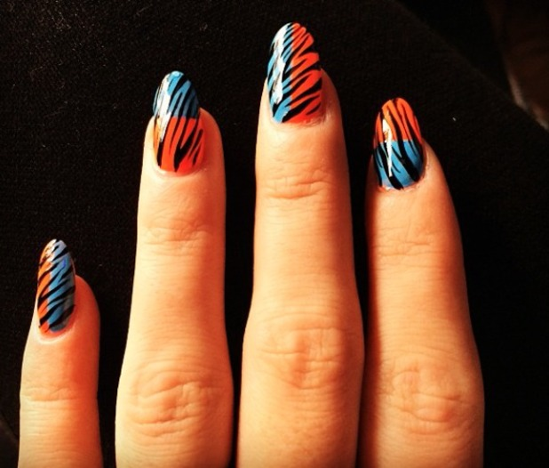 Orange And Blue Zebra Print Nail Art