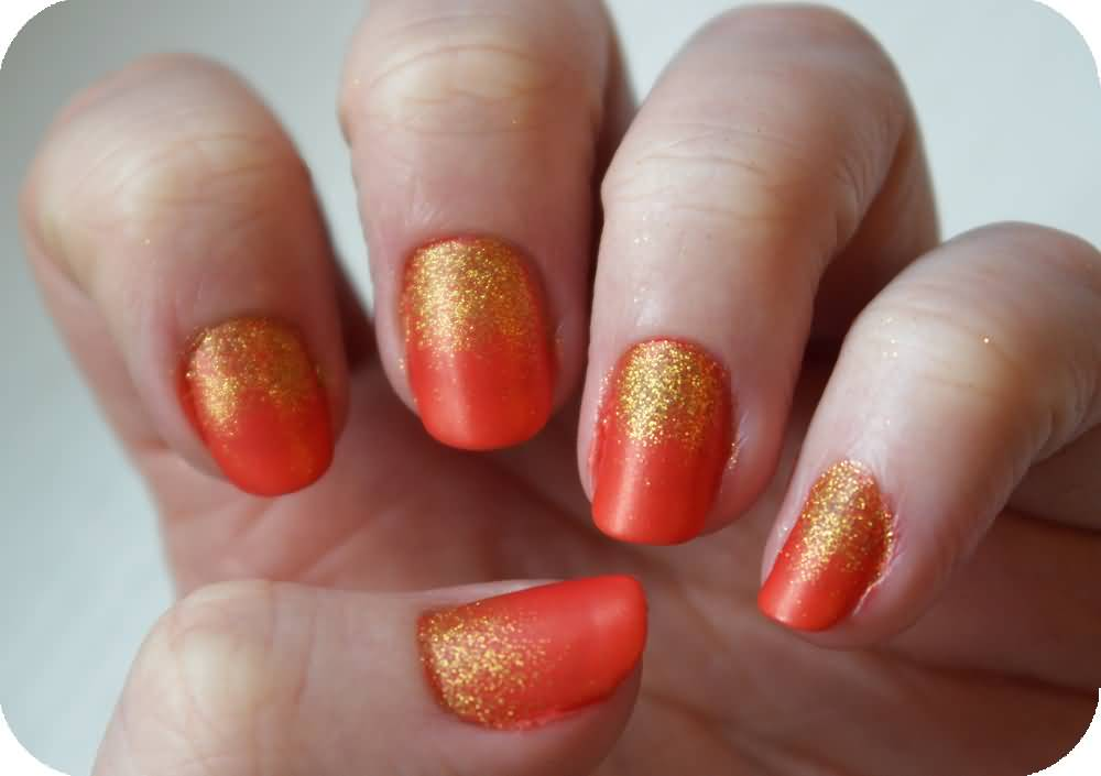 Orange And Gold Glitter Nail Art