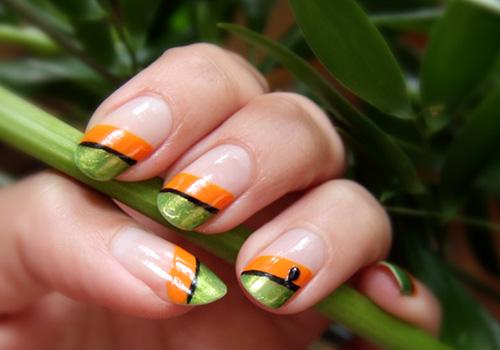 Orange And Green Diagonal Design Nail Art