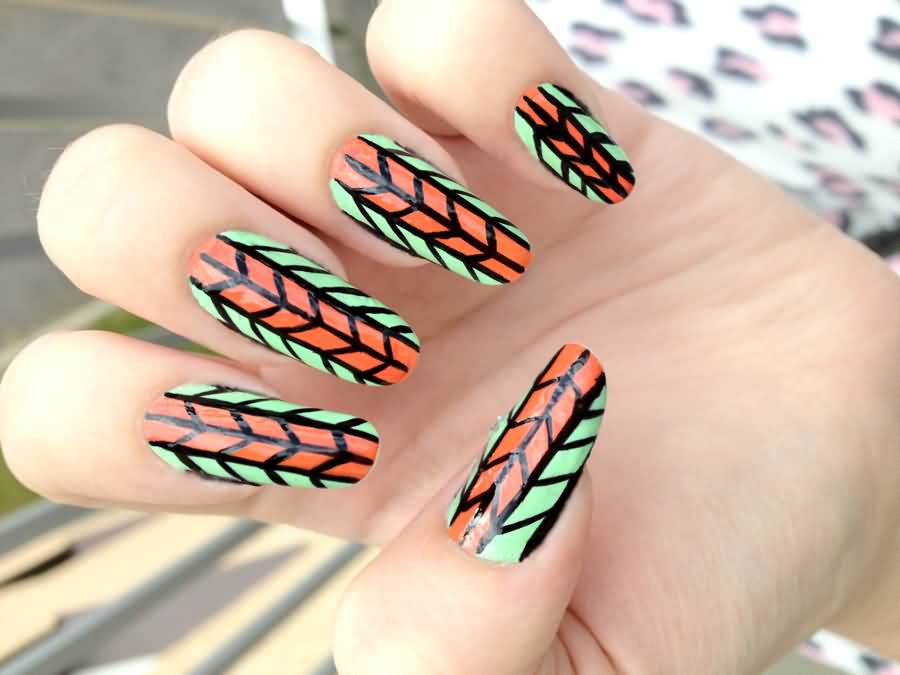 Orange And Green Nail Art By NnNiLe